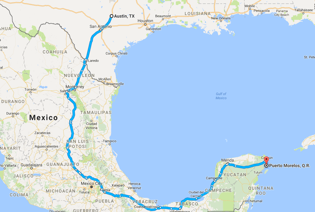 Road Trip Summary – Austin to Puerto Morelos